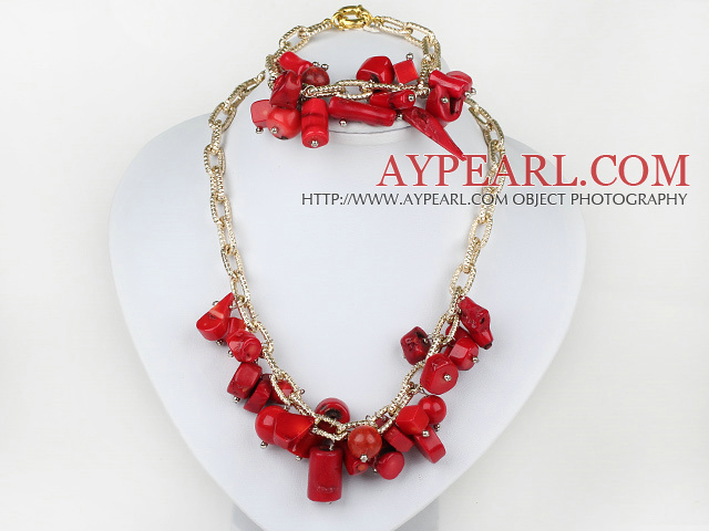 red coral necklace bracelet set with gold color chains