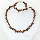 Wholesale 6-8mm tiger eye chips necklace bracelet set with toggle clasp