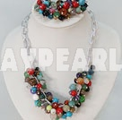 Fashion Loop Chain Multi Colorful Mixed Stone Beads Necklace Bracelet Set