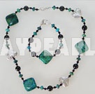 black agate phoenix stone necklace bracelet set