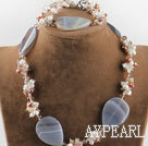 brown pearl crystal and agate necklace bracelet set with moonlight clasp