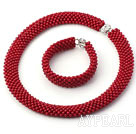 Wholesale Tube Shape Round Red Coral Woven Beaded Set ( Necklace and Matched Bracelet )