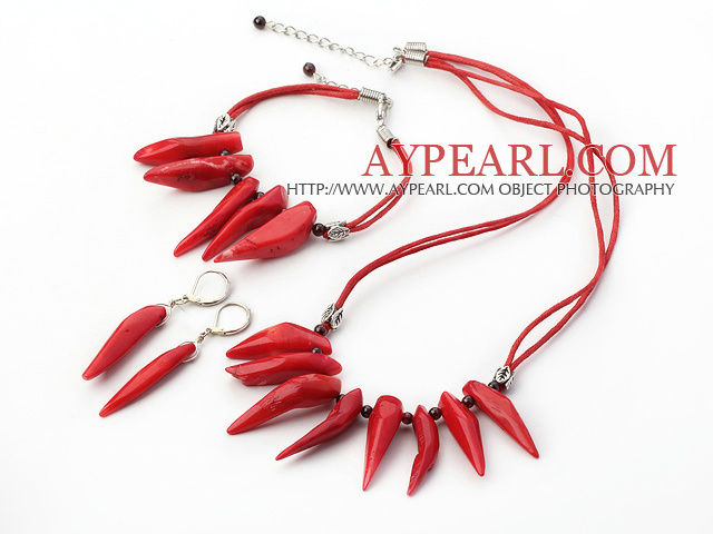 Pepper Shape String&Strand Red Coral Set(Necklace, Bracelet And Matched Earrings)