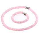 Wholesale pink agate set(necklace, bracelet and earrings)