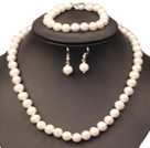 Graceful Mother Gift 8-9mm Natural White Freshwater Pearl Jewelry Set (Necklace, Bracelet & Earrings)
