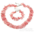 Fashion Teeth Shape Cherry Quartz Necklace Bracelet Set With S Clasp Extendable Chain