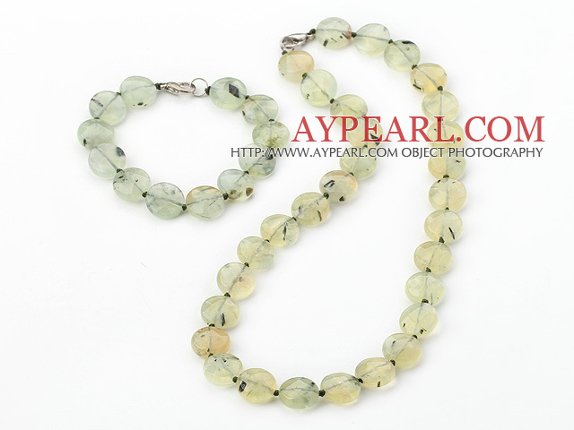 Fashion Threaded Flat Round Green Rutilated Quartz Necklace Bracelet Sets With Lobster Clasp