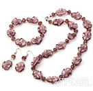 Nice Wine Red Series Irregular Shape Colored Glaze And Crystal Sets (Necklace Bracelet With Matched Earrings)