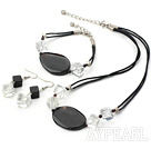 Fashion Rhombus White Crystal And Black Agate Set Necklace Bracelet Earrings Set