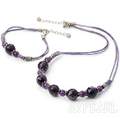 Natural Round Beaded Amethyst Set(Necklace With Matched Bracelet)