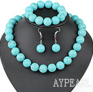 sellable 16mm round turquoise necklace bracelet earring set 