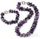 faceted natural amethyst jewelry set