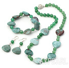 Fashion Heart Shape Morganite And Round Aventurine Sets (Necklace Bracelet With Matched Earrings)