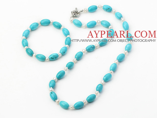 Fashion White Freshwater Pearl And Oval Blue Turquoise Set (Necklace With Matched Bracelet)