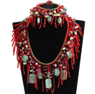 2015 Beautiful Shining Red Crystal Green Aventurine Statement Christmas Tassel Jewelry Set (Necklace & Bracelet)