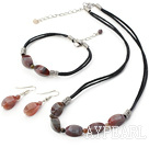 Popular Irregular Shape Indian Agate Set With Black Cord (Necklace Bracelet With Matched Earrings)