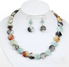 Fashion Flat Round Amazon And Mixed Agate Stone Set (Necklace With Matched Earrings)