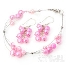 Wholesale dyed pearl bracelet earrings set