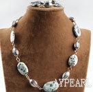 Wholesale blue spar stone beaded neckalce bracelet set