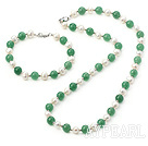 Popular White Freshwater Pearl And Round Aventurine Set (Necklace With Matched Bracelet)