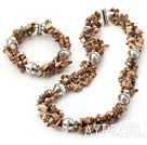 Wholesale Popular Chipped Picture Jasper With Metal Charm Set (Necklace With Matched Bracelet)