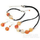 Mixed Color Flower Agate Set(Necklace, Bracelet And Matched Earrings)