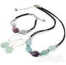 Simple Style String&Strand Rainbow Fluorite Necklace Bracelet Earrings Set