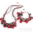 coral black agate crystal jewelry sets