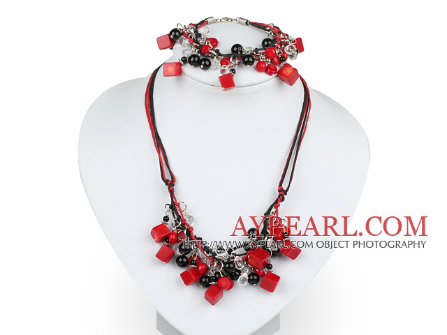 Fashion Multi Red Coral And Black Agate Threaded Crystal Jewelry Sets (Necklace With Matched Bracelet)