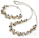 Fashion Multi Color Pearl And Teardrop Smoky Quartz Wired Jewelry Sets (Necklace With Matched Bracelet)