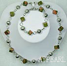 Wholesale Natural Rhombus Green Piebald Stone With Metal Charm Necklace Bracelet Set