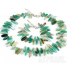 Wholesale 5*22mm green agate necklace bracelet set wirh S shape clasp