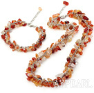 Fashion Chipped Agate Necklace Bracelet Sets Adjustable Chains