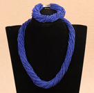 Popular Style Multi Strands Deep Blue Mini Beads Twisted Chunky Party Jewelry Set (Necklace & Bracelet)