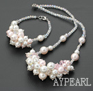 Lovely Colorful Crystal And White Pink Round Seashell Beads Set (Necklace With Matched Bracelet)