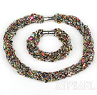 multi strand colorful glass beads set with magnetic clasp