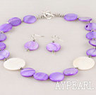 purple and white shell necklace earrings set