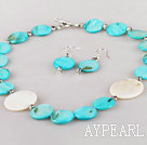 Wholesale white and blue shell necklace and earrings set