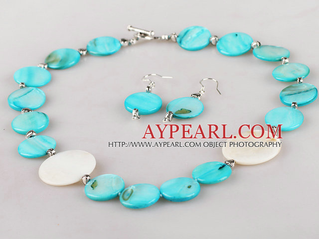 white and blue shell necklace and earrings set