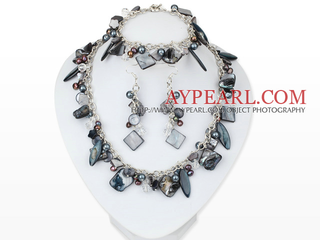Black Series Assorted Black Pearl Shell Set with Metal Chain ( Necklace Bracelet and Matched Earrings )