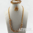 Wholesale yellow Czech crystal necklace bracelet earrings set