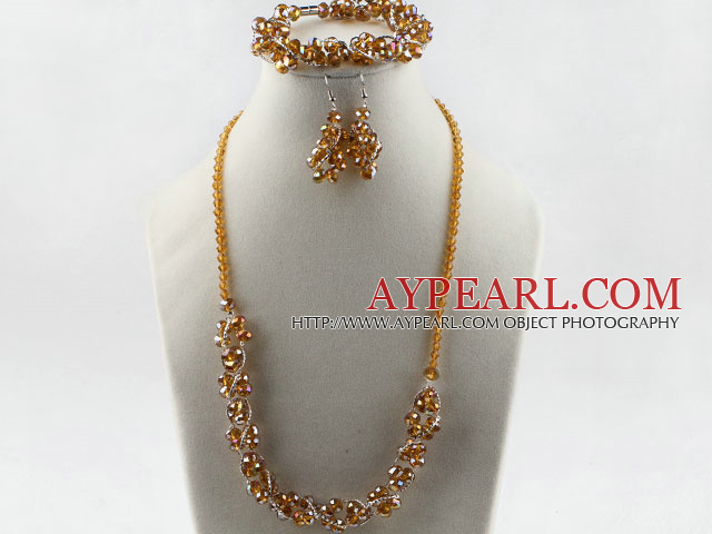 yellow Czech crystal necklace bracelet earrings set