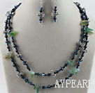 black pearl blue crystal and agate necklace earrings set