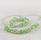 Wholesale green Czech crystal necklace bracelet earrings set