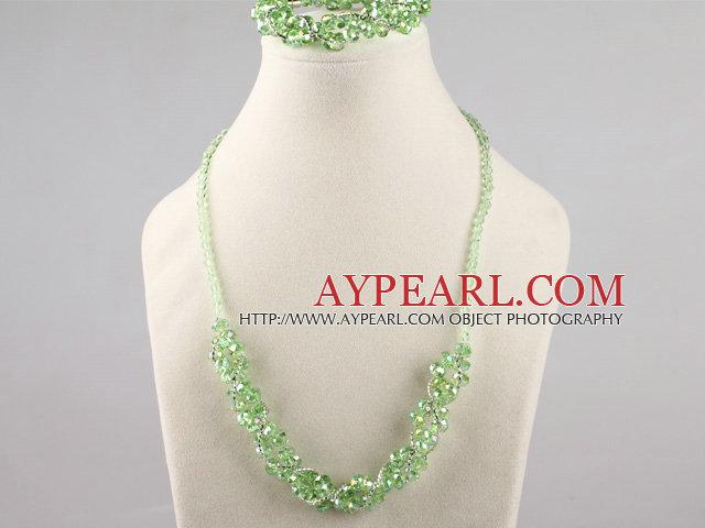 green Czech crystal necklace bracelet earrings set
