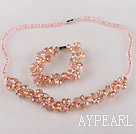 Wholesale pink Czech crystal necklace bracelet earrings set
