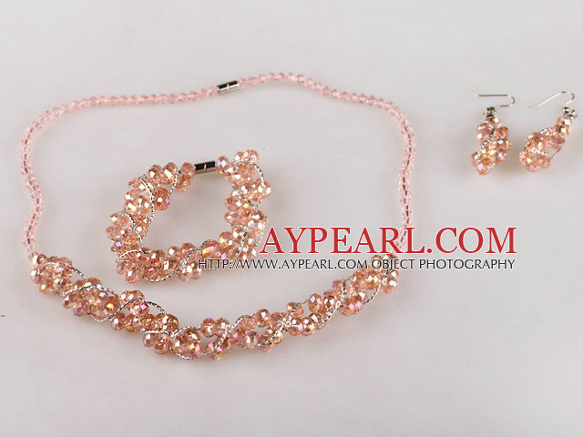 pink Czech crystal necklace bracelet earrings set