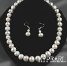 Wholesale 12-14mm Natural White Freshwater Pearl Set ( Beaded Necklace and Matched Earrings )