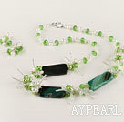 Wholesale white pearl green crystal and agate necklace earrings set