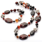 fancy agate and tibet silver charms necklace bracelet set